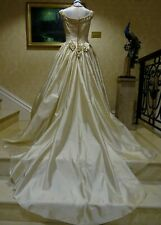 1980's VICTORIAN STYLE PURE SILK WEDDING DRESS WITH TRAIN UK 10/12