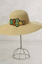 NWT Anthropologie Boho Summer Beach Sun Wide Brim Bead Detail Hat OS Womens $90