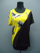 LA GALERISTE Black Yellow Birds Short Sleeves Blouse Sample NWT Sz S EE9065