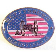 CIVIL WAR GETTYSBURG PA US FLAG & CANNON  LAPEL PIN HAT TAC NEW 13026