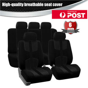 Universal Front+Rear 5 Sits Black Car Seat Cover Cushion Protector Mat Full Set