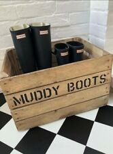 Welly Boot Rack & Shoe Wooden Box Apple Storage - The Original Muddy Boots Crate