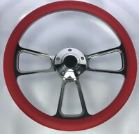"""14"""" Polished Billet Steering Wheel (Red Half Wrap and Polished Horn Button)"""