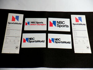 NBC SPORTS/SPORTS WORLD/JR. OLYMPICS ID BADGES ~ LOT OF 4 WITH 1975-1979 LOGO.