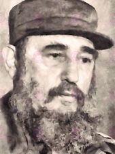 Retrato de pintura presidente revolucionario cubano Fidel Castro arte cartel LV10593