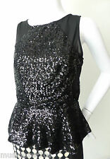 SASS  Black Sleeveless Sequin Top Size 10 US 6