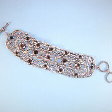 Silver Chain Mesh Antique Vintage Look Wide NEW Toggle Bracelet Black Stones USA