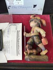 "Anri Ferrandiz Vintage Woodcarving ""The Champion"" Boy Hiking 7"" Figurine W Box"