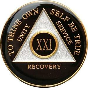 Recovery Mint 21 Year AA Medallion - Tri-Plate Twenty-One Year Chip/Coin - Black