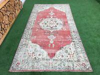 4'10''x9'8'' Distressed Vintage Turkish Rug,Oushak Large Rug,Antique Ushak Rug