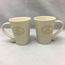 Godiva Choclatier Coffee Mug Beige Gold Cup California Pantry 2009 Lot Of 2
