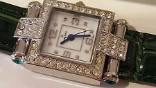 Square Louis Arden Quartz watch Dark Green band white Dial Crystals Girls Woman