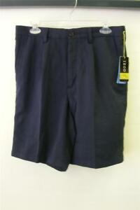 NWT mens IZOD NAVY BLUE PLEATED POLYESTER shorts size 32 GOLF  $50 MSRP  NEW