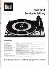 Service Manual-Anleitung für Dual 1214