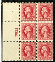 US Stamps # 526 2c Washington VF OG NH Plate Block Of 6 Wide Selvage Scarce