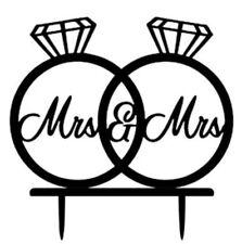 La señora & la señora Wedding Cake Topper-Mujeres/gay/novias anillos-signo de Acrílico Negro - 14x11CM