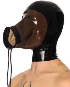 Latex gummi rubber black fashion headgear cosplay casual club festival hood