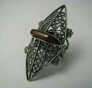 MODERN SILVER RING CARNELIAN AGATE FILIGREE Middle East c1950s US Size 6.75 Rare