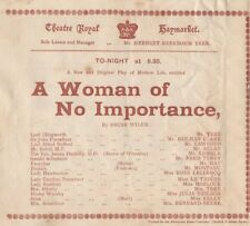 *OSCAR WILDE 1893 RARE ORIGINAL PLAY PROGRAM A WOMAN OF NO IMPORTANCE*