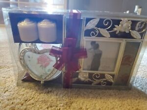 Rose Picture Frame And Candle Holder NIP 3X3