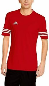 ADIDAS mens t shirt top jersey RED large football training short sleeve crew n