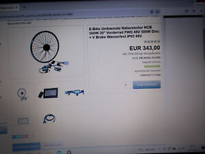 """E-Bike Umbausatz Nabenmotor NCB 500W 20"""" Vorderrad FWD 48V 500W Disc + V Brake"""