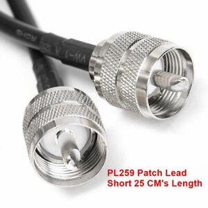 Patch Lead RG58 Cable  PL259 Soldered Plugs Short 25 CM CB Radio Ham Test Lead