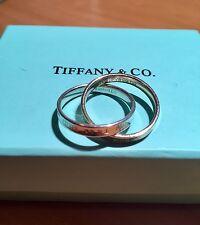 Tiffany & Co 18K Rose Gold & Silver 1837 Interlocking Circles Ring. RRP $1350