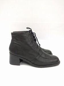 Sz 39 Vintage Ladies Grunge Rock Black lace up leather ankle boots