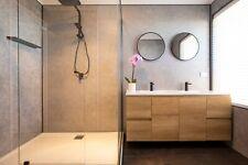 Decorative CONCRETE Bathroom Shower Wall Panels PVC 2.4m X 1m X 10mm T&G Joins