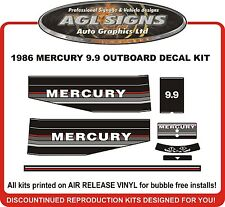 1986  MERCURY 9.9 hp Outboard decal set   reproductions  6 hp  8 hp 15 hp also