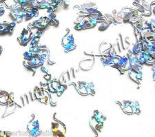Bijoux déco ongle Paillette Nail Art Silver cat CHAT Argenté Holographique