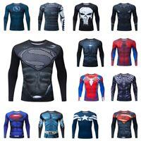 Super Hero 3D Print Funny Men T-shirts GYM Tight Tees Quick Dry Long Sleeve Tops