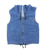 VTG 80s 90s Hang Ten Men Small 42 Full Zip Sleeveless Denim Hoodie Jacket Grunge