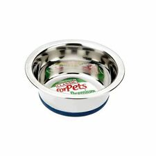 Non-Slip Steel Dish Food or Water Small to Medium Dog Bowl 400ml