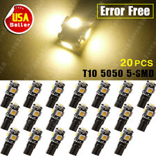 20X CANBUS ERROR FREE Warm White T10 Wedge 5050 5SMD LED Light W5W 194 168 2825