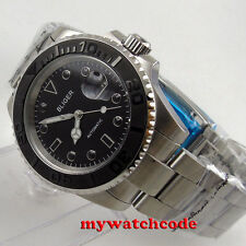 40mm bliger black dial ceramic submariner sapphire glass automatic mens watch