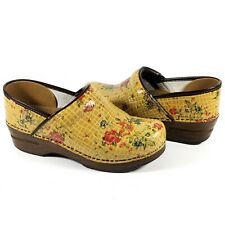 Dansko Professional Nursing Clog Tan Croc With Floral Design Women Size 38