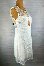 SALE %%   Vintage romatisches Sommer Kleid Spitze Tattooeffekt weiß, Gr. 34, 38
