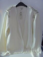 RIVER ISLAND EMBELLISHED CARDIGAN CREAM METALLIC JUMPER JEWEL SHOULDER SIZE 12