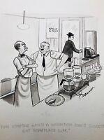 CHARLES PEARSON Original Vintage Gag Cartoon Art TRUE MAGAZINE 1947 DINER
