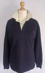 RALPH LAUREN POLO RUGBY JERSEY SHIRT MEDIUM AUTHENTIC MENS GOOD CONDITION
