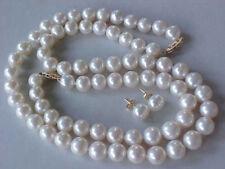 9-10MM AAA GENUINE WHITE AKOYA PEARL NECKLACE BRACELET & EARRINGS SET JN782