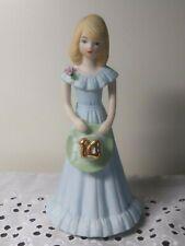 Vintage Enesco Growing Up Birthday Girls Blonde Age 14 Porcelain Figurine + box