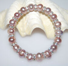 GORGEOUS GENUINE MAUVE FRESHWATER PEARL AND CRYSTAL SPACER STRETCH BRACELET