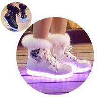 Women's LED Luminous Warm Fur Leather Ankle Snow Winter Boots Fashion Shoes