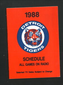 Detroit Tigers--1988 Pocket Schedule--Detroit Free Press