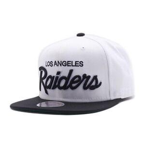 LA Los Angeles Vintage Raiders SCRIPT Snapback NFL Cap - Mitchell & Ness - White