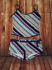 PBX Basics M/S 2PC Swimsuit Stripes & Polka Dots (Medium Top Small Bottoms)