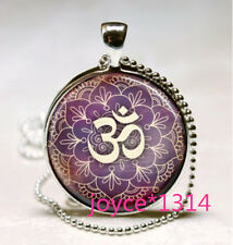 Om Pendant , Lotus Flower Necklace , Namaste Yoga Jewelry , silver #559